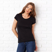 Sheer mini rib crew neck t-shirt