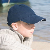 Junior low-profile heavy brushed cotton cap with sandwich peak